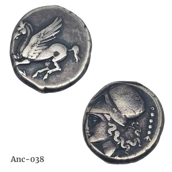 Corinthian style silver stater ancient coin with pegasus and athena