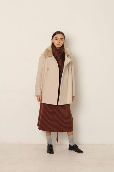 Демисезонное пальто с эко-мехом