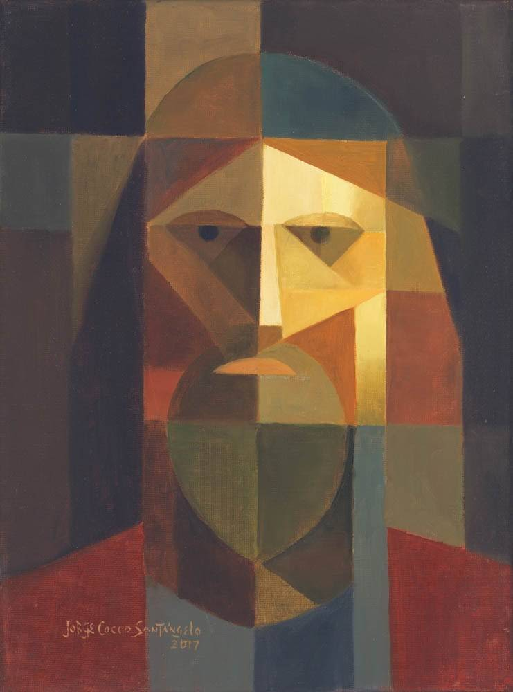 Modern, abstract portrait of Jesus.