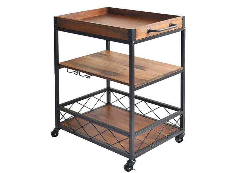 Modern Bar Cart, At Home Bar Cart, Bar Cart with Rack