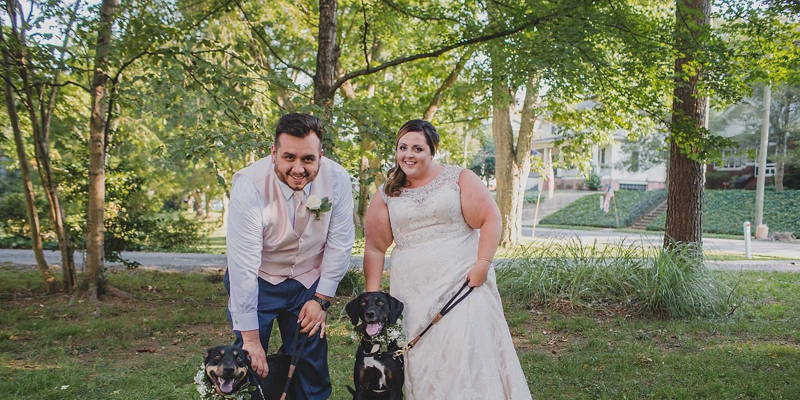 Romantic outdoor wedding full of personal touches and furry friends