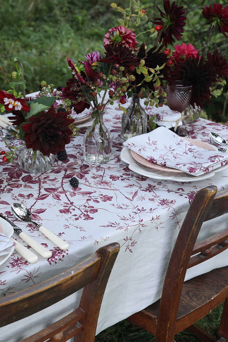 Table set with YOLKE's Blackberry Homeware range for a winter tablescape