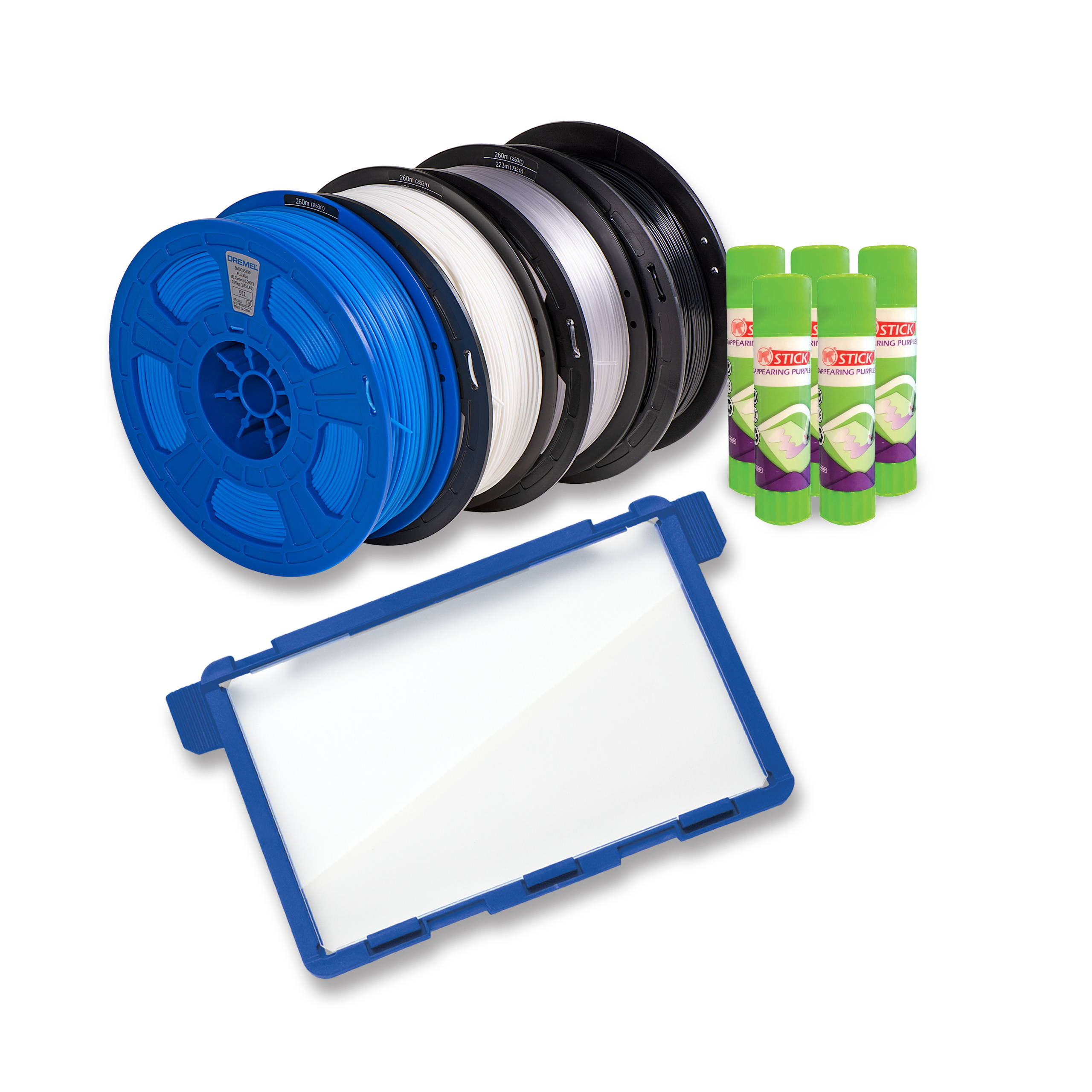 Image of addition items included in 3D45-EDU bundle, 4 spools of filament, 5 glue sticks, 1 extra build plate
