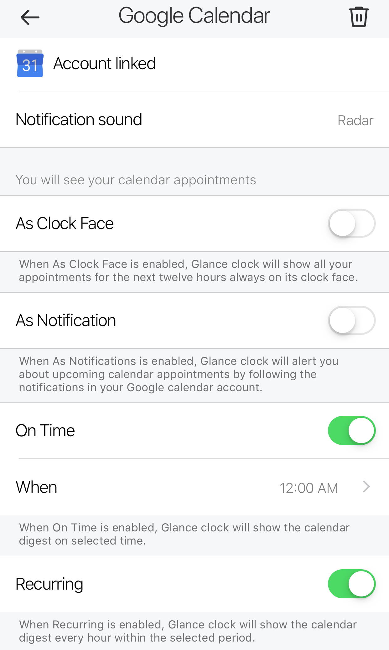 Glance Clock - Apple Calendar - On Schedule