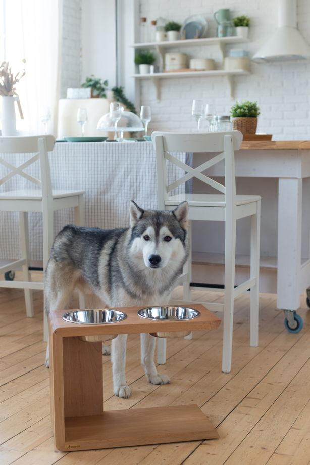 Дизайнерская подставка из натурального бука с мисками для крупных пород собак