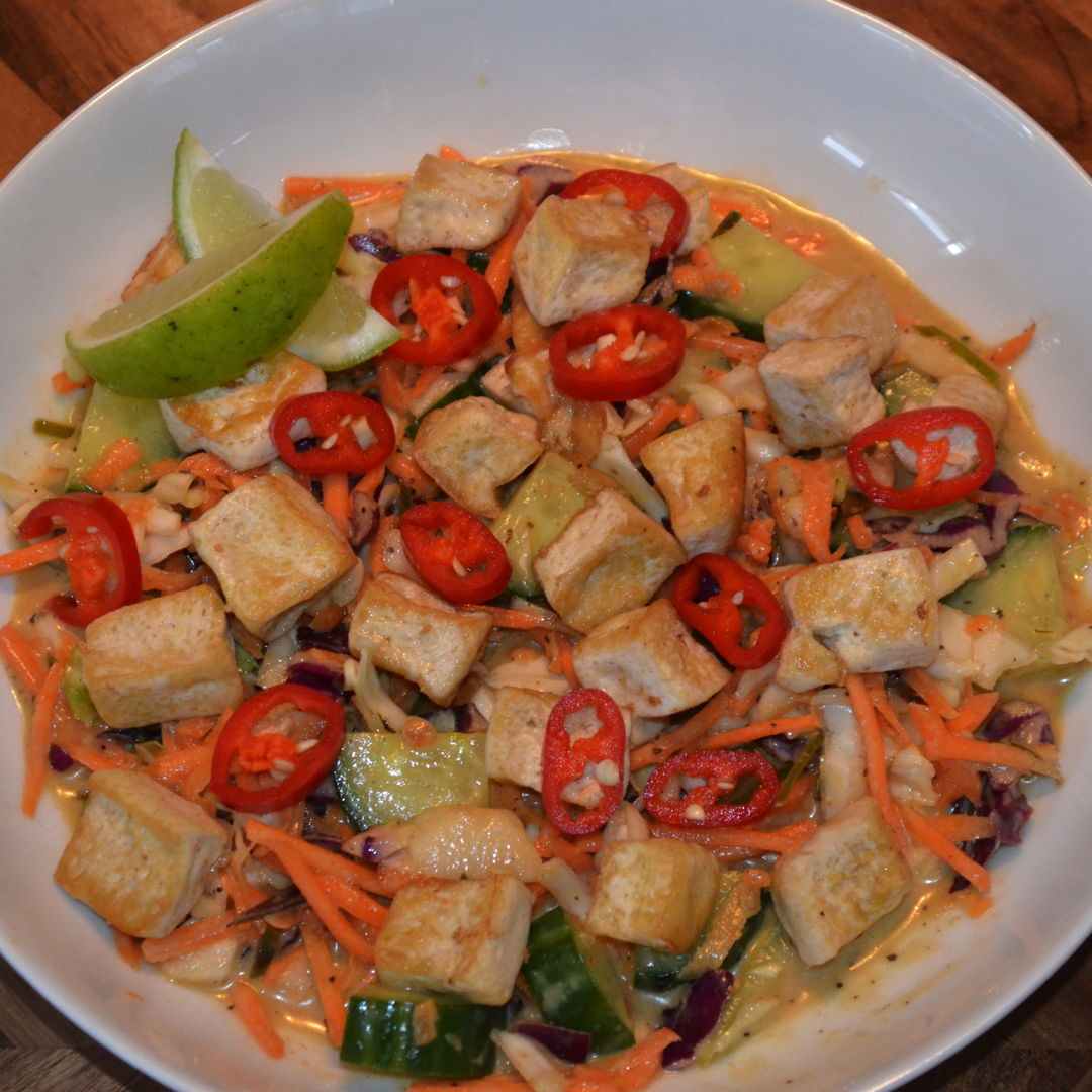 Date: 2 Jun 2020 (Tue) 135th Main: Peanut & Kaffir Lime Tofu Salad with Coconut Dressing [374] [164.0%] [Score: 8.9] Cuisine: Southeast Asian Dish Type: Main