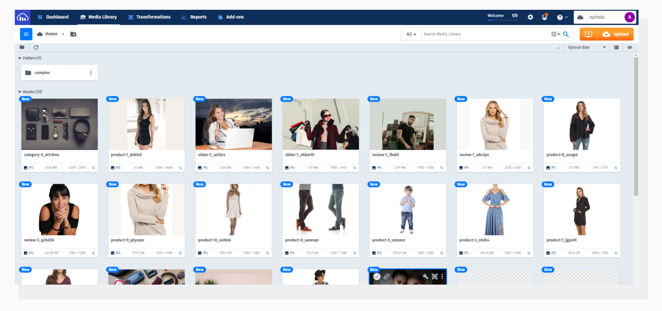Images uploaded to Cloudinary and displayed in Dashboard