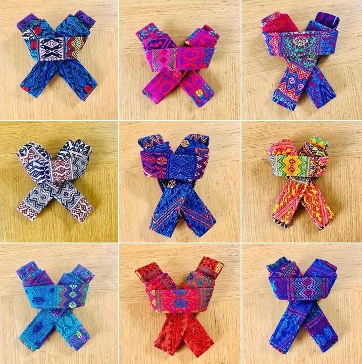 folded colourful yoga straps