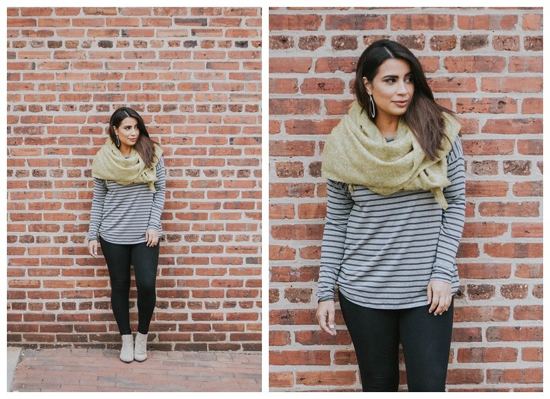 comfy fall fashion-mustard yellow scarf-striped shirt-cute clothes-comfy fashion-comfy clothes-trendy-shop small