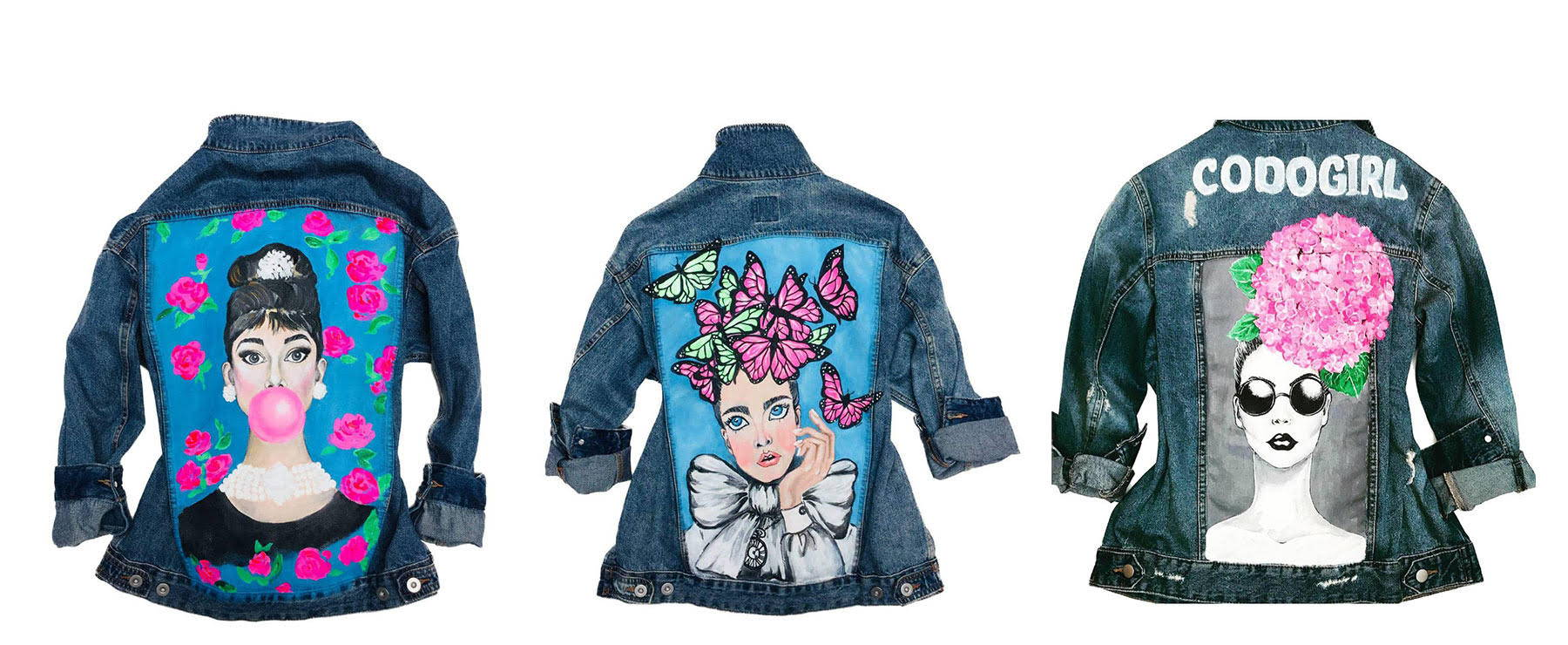 Refashioned denim jackets