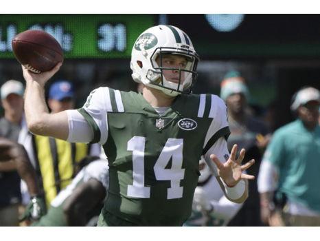 Jets quarterback, Sam Darnold, signed football