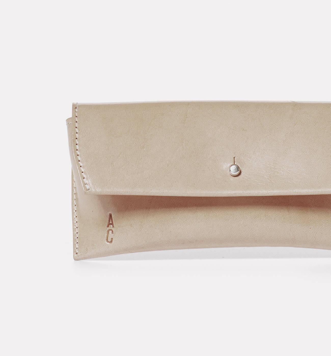 Kit Leather Glasses Case in Grey