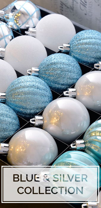 Blue and Silver Christmas Baubles