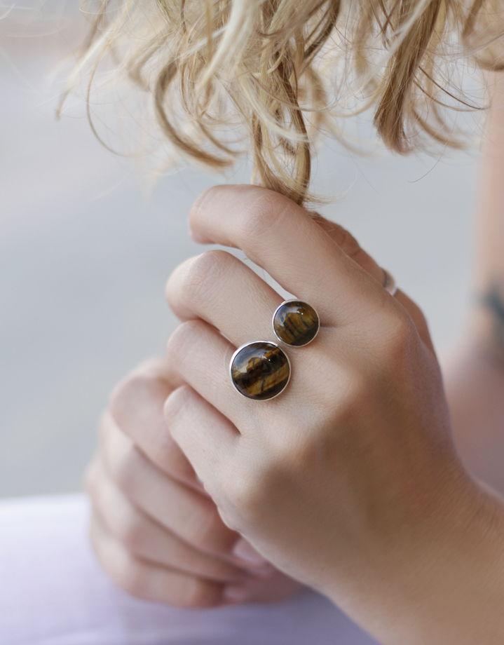 Кольцо с натуральным камнем Тигровый глаз