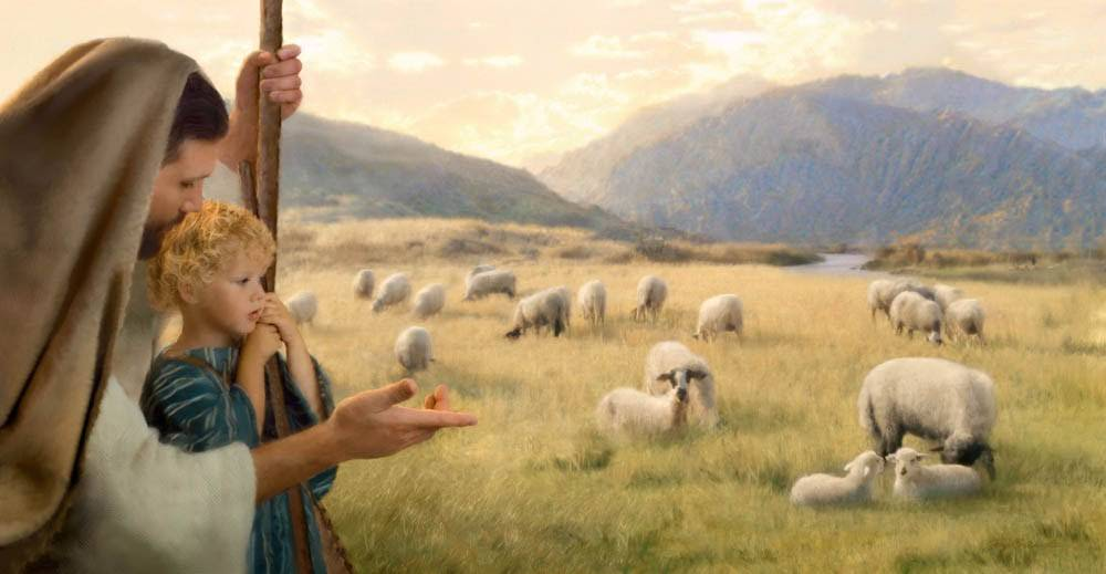 Jay Bryant Ward LDS art painting of Jesus and a small shepherd boy looking out at a field of sheep.