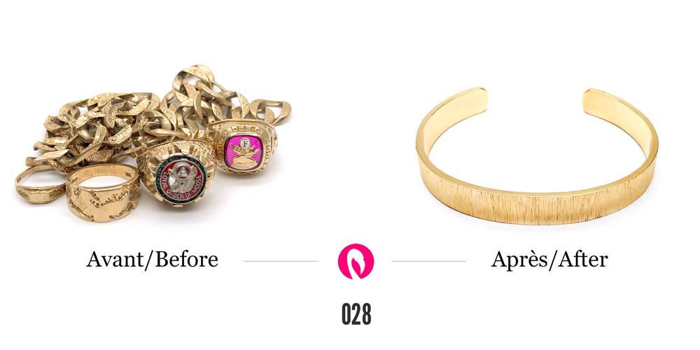 Amas de bijoux en or jaune transformé en un bracelet large et massif en or jaune.