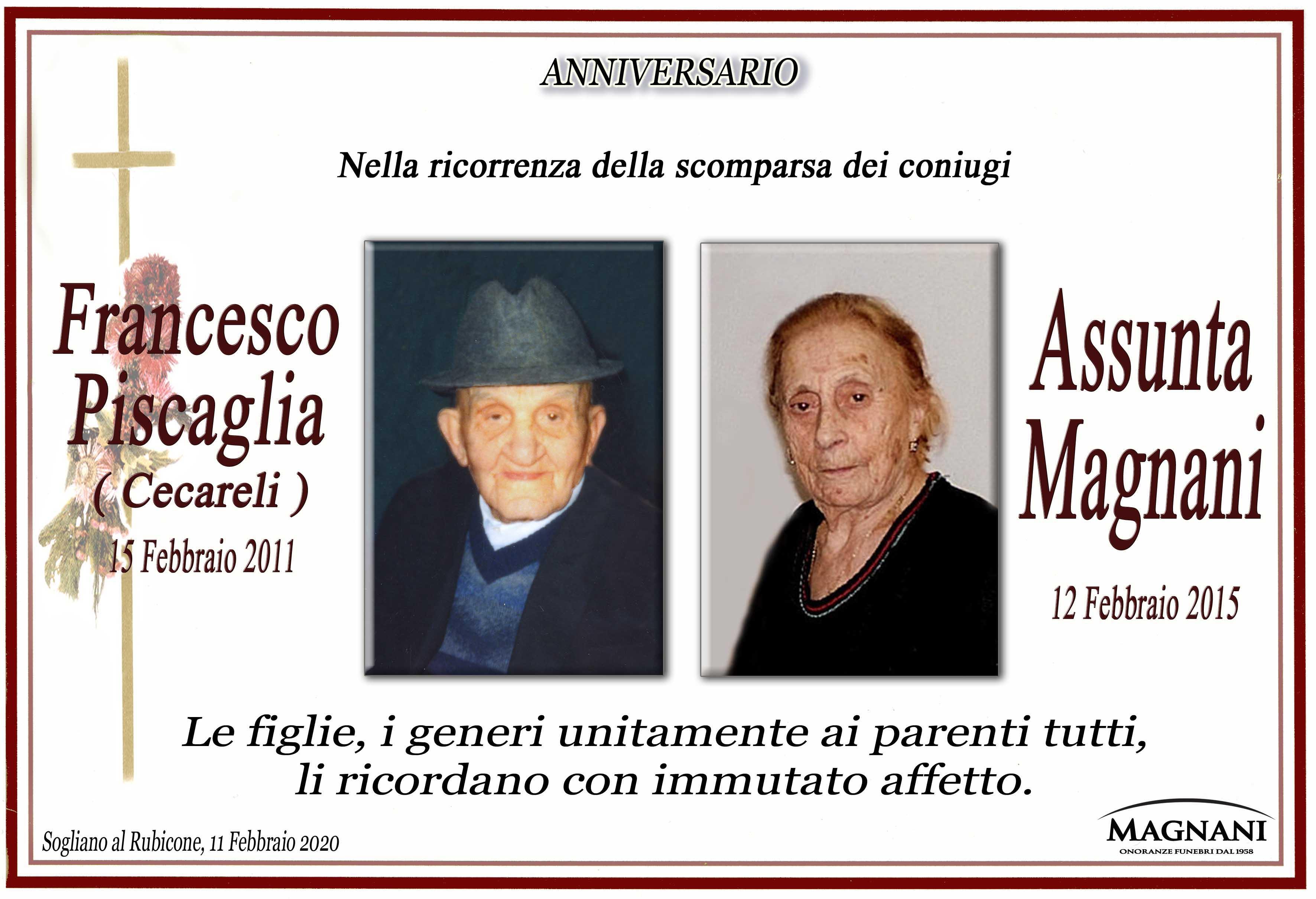 Coniugi Francesco Piscaglia e Assunta Magnani