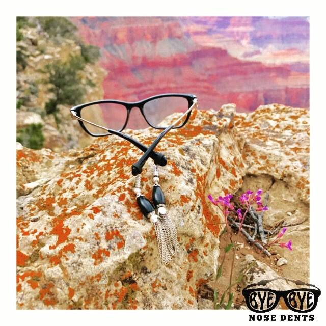 Bye-Bye Nose Dents Prevents Your glasses from slipping. Elegant Eyeglass Jewelry and eyeglass accessories.