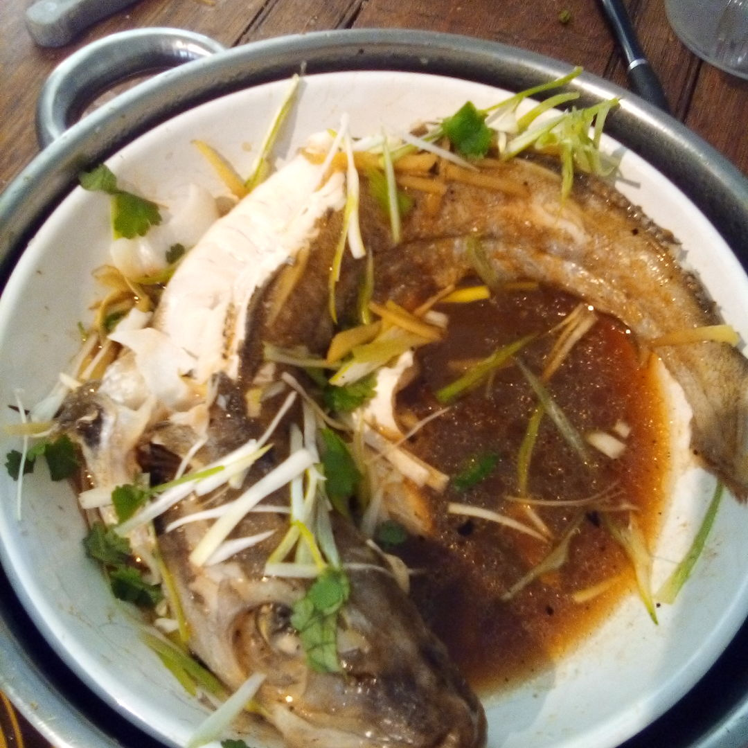 As per request here is my version of steamed fish using whiting ( which is relatively cheap here in UK and a delightfully delicate tasting under-estimated fish ). My Njonya Grandmother ( Ah Ma ) would have grunted '...thats it's ok lah..' which would have been a HUGE compliment !!..lol.