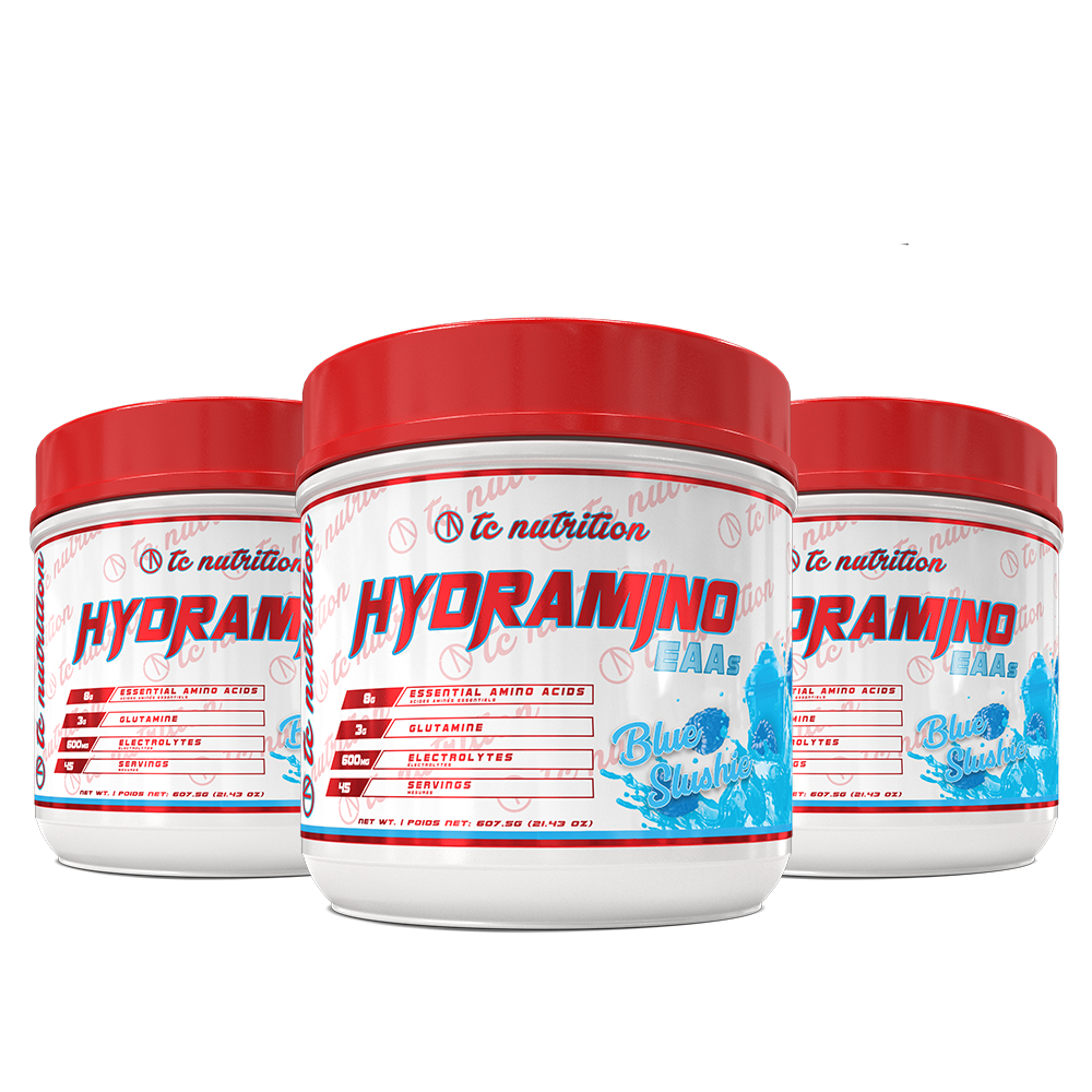 Image of a triple bottle pack of Hydramino Blue Slushie