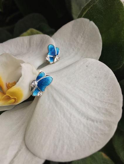 Серьги с эмалью «Бабочки»