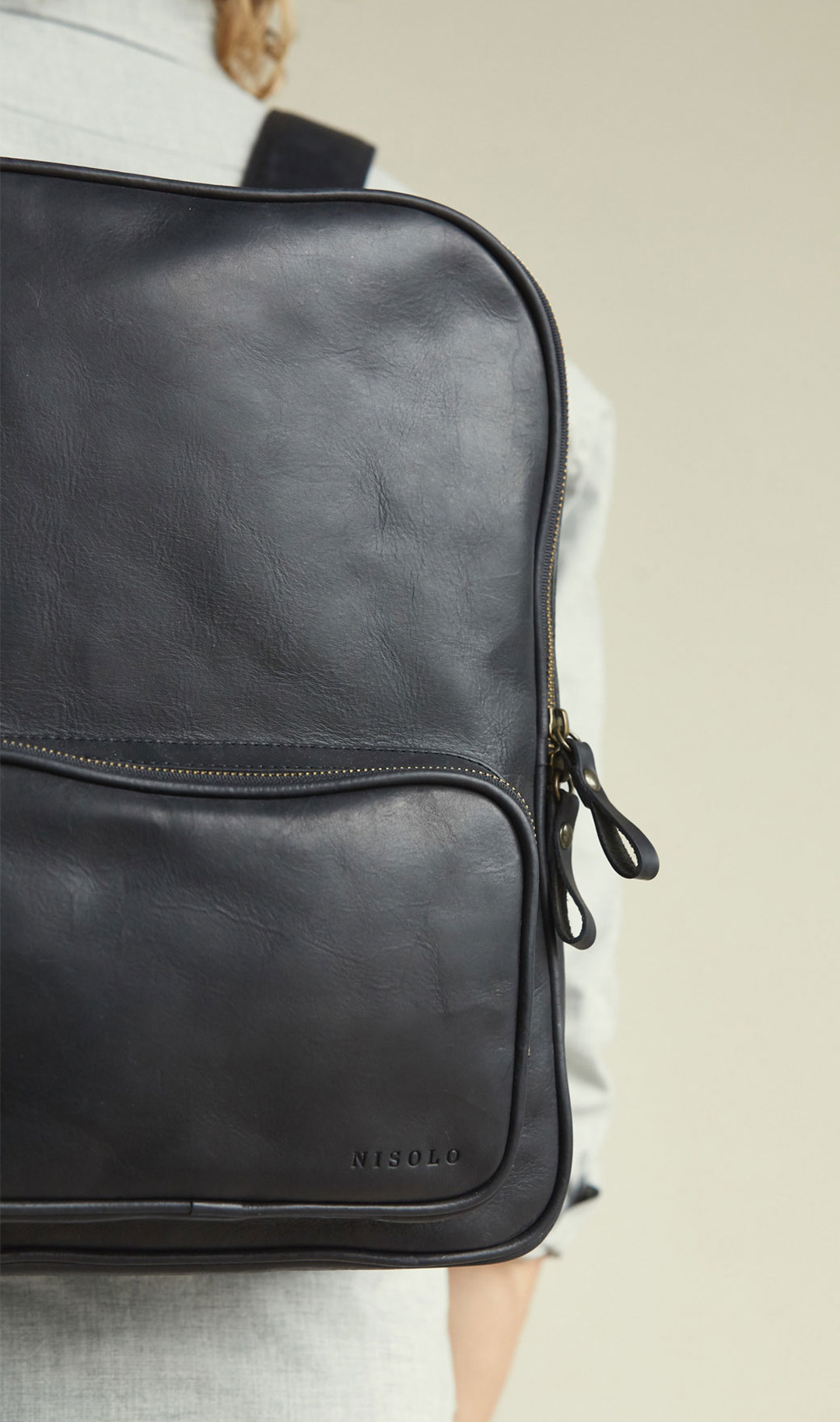 Nisolo Black Leather Backpack