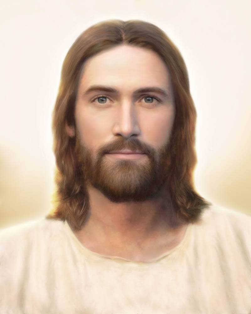 Portrait of Jesus Christ against a cream-colored background.