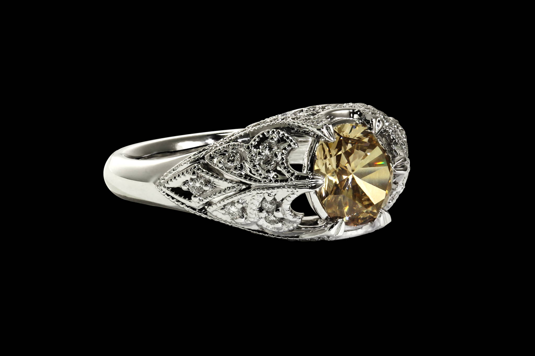 Champagne Diamond Victorian Ring rare view