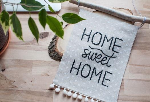 """Панно с вышивкой/ вымпел/ баннер """"Home sweet home"""""""