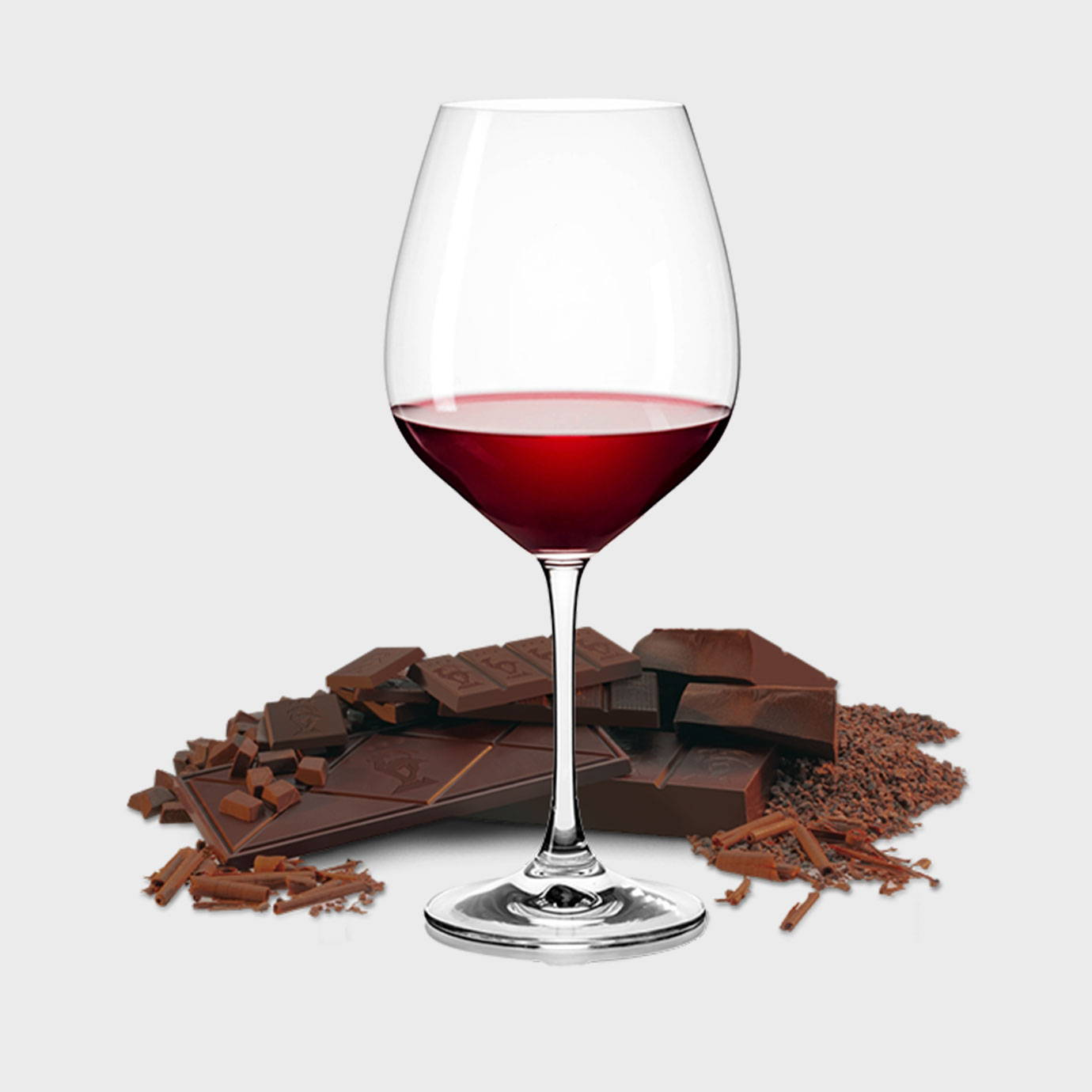 Glass of red wine and chocolate image