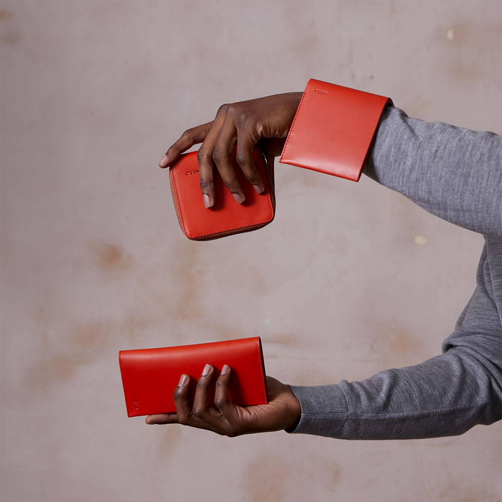 Ally Capellino AW21 Campaign Red Leather Wallets
