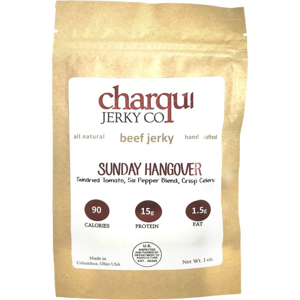 Charqui Jerky Co Bloody Mary flavored beef jerky.