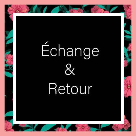 Il est écrit Echange & Retour sur un fond noir et un contour de roses
