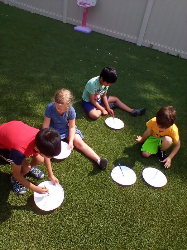 Kindergartens making  sundials