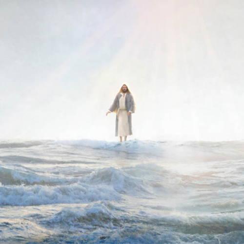 Painting of Jesus walking on water.