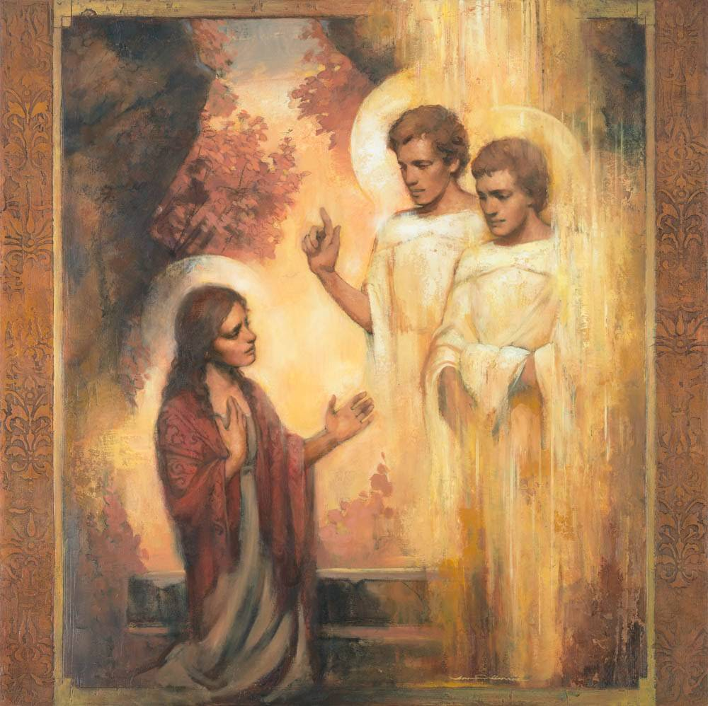 Resurrection art of two angels talking to Mary Magdelene.