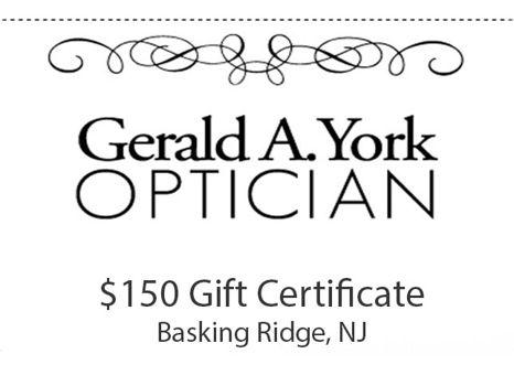 $150 Certificate to Gerald York Opticians