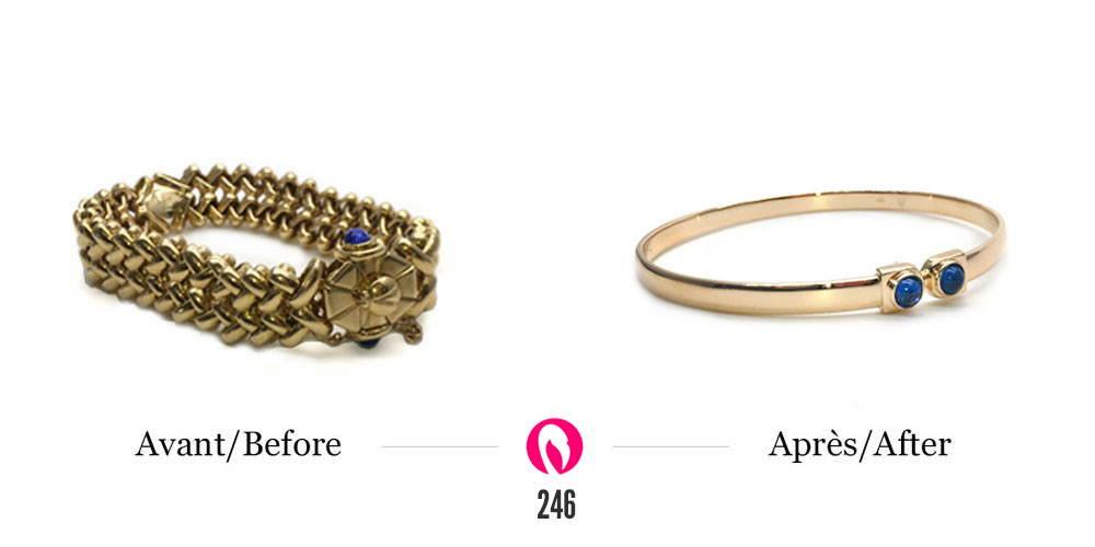 Gros bracelet à mailles en or jaune à gauche et la transformation en un nouveau bracelet plus fin à droite