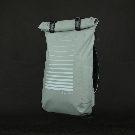 Серый ролл топ рюкзак со светоотражающим принтом / Gray Reflective Backpack