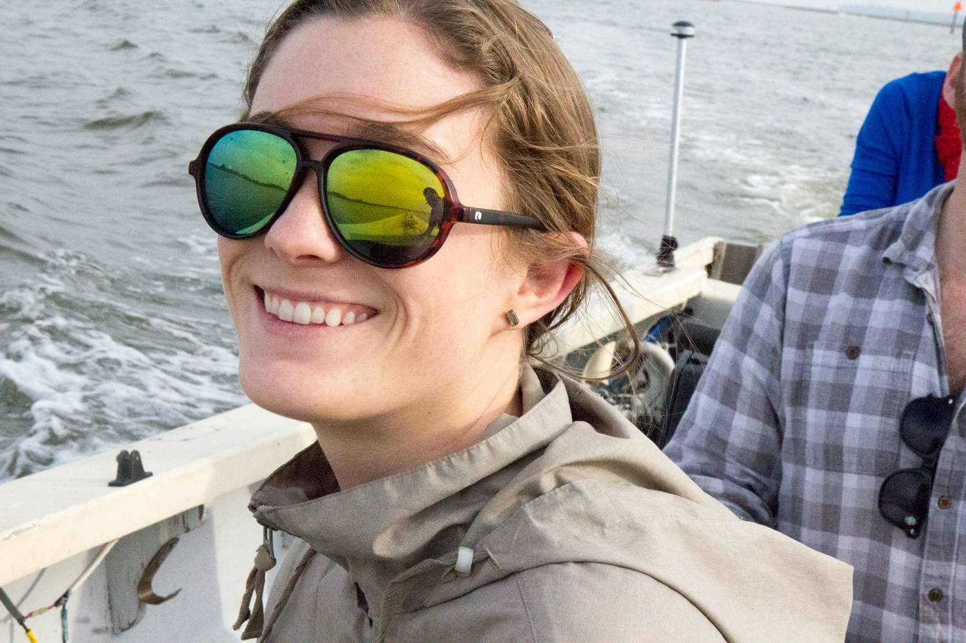 Rheos co-founder Becca Berton wears Rheos sunglasses with hydrophobic coating, allowing for perfect clarity.