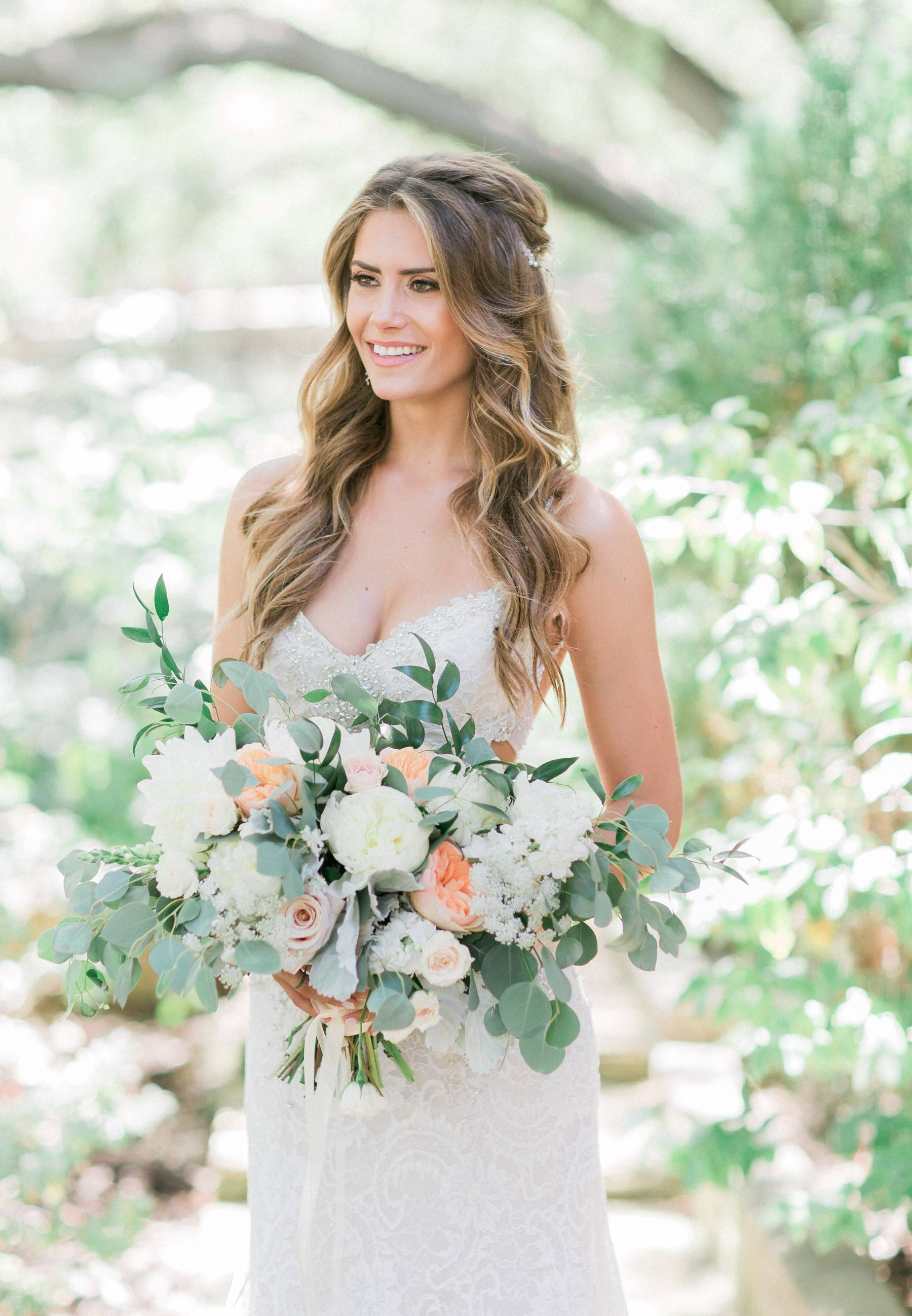 Bohemian wedding, romantic bridal bouquet, lush wedding, Los Angeles florist