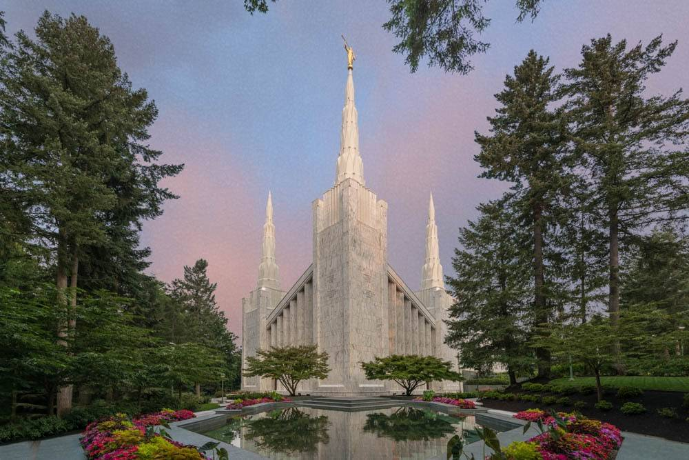 LDS art photo of the Portland Oregon Temple and grounds.