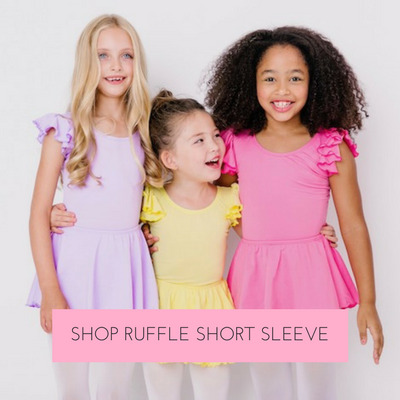 The flutter on our short ruffle sleeve leotards adds an extra adorable flourish of style.