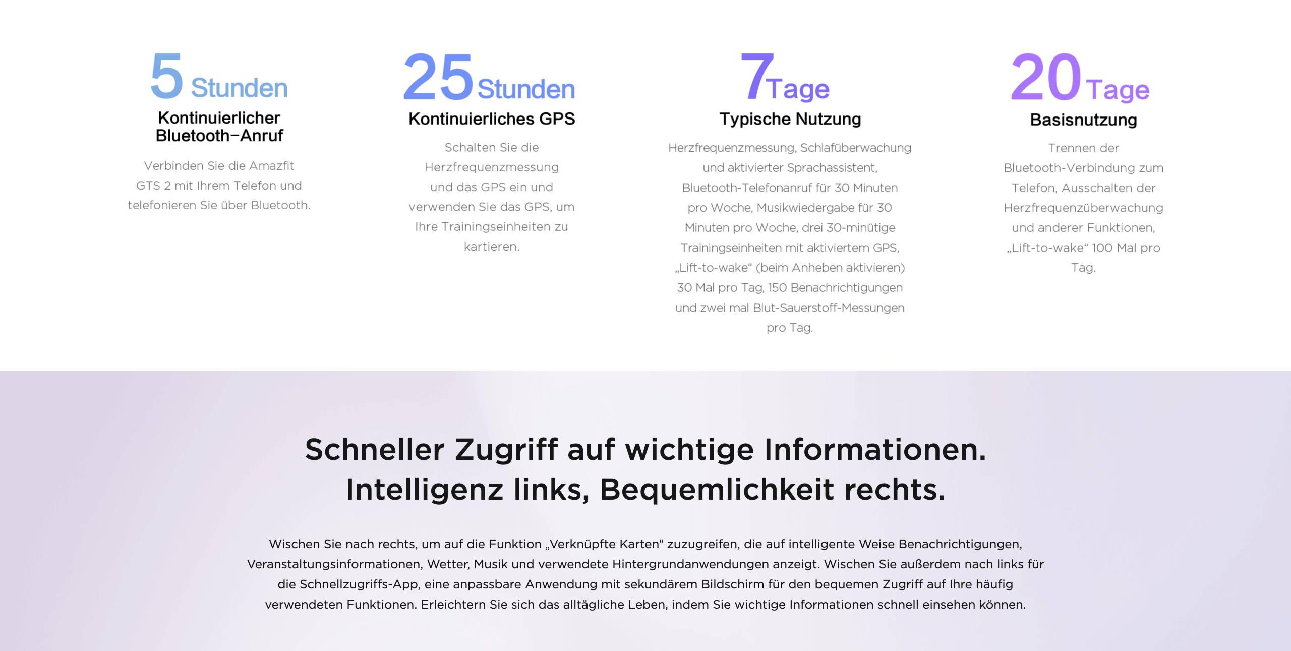Amazfit GTS 2 - Schneller Zugriff auf wichtige Informationen. Intelligenz links, Bequemlichkeit rechts.