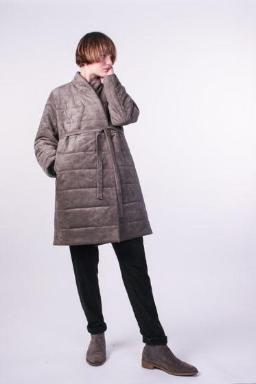 Зимнее стёганное пальто из Эко замши