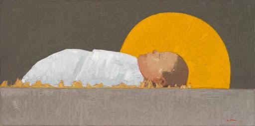 Modern LDS art painting of infant Jesus Christ.