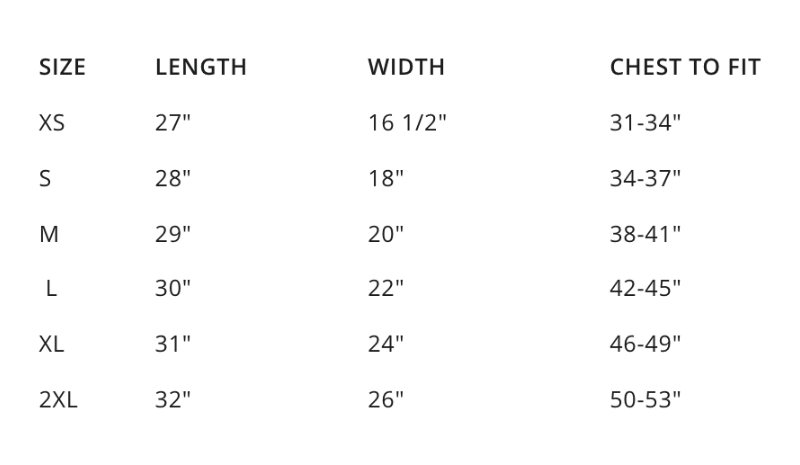 sizing chart for help