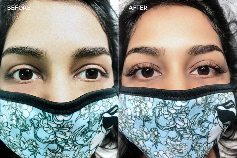 Project Lash Studio Singapore - Before and after eyelash extension transformation