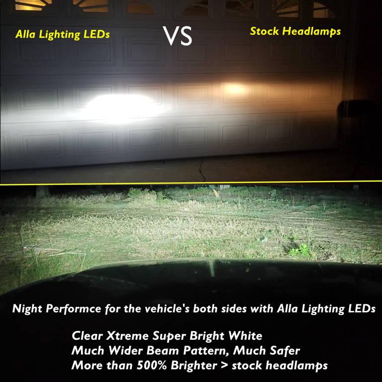 Alla Lighting FL-BH H7 LED Bulbs 6000K Xenon White vs Halogen Lamp