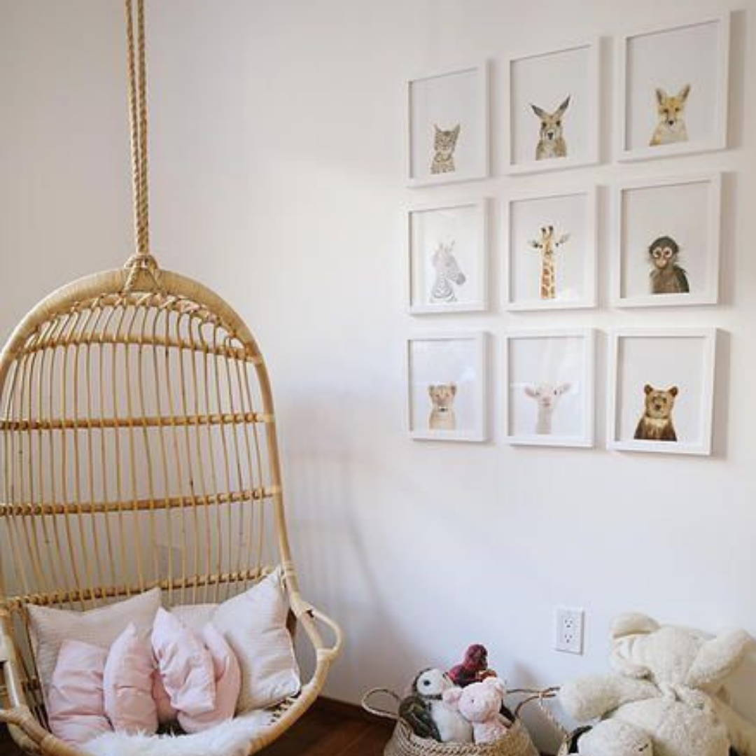 Hanging chair and gallery wall idea for nursery decor
